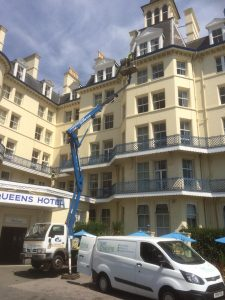 Cleaning windows at Eastbourne hotel
